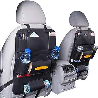 HCMAX 2 Pack Auto Rückenlehnenschutz Autositz zurück Veranstalter Tasche Rücksitz Schutzaufbewahrung Trittmatte Ipad Mini Halter Großes Reisezubehör