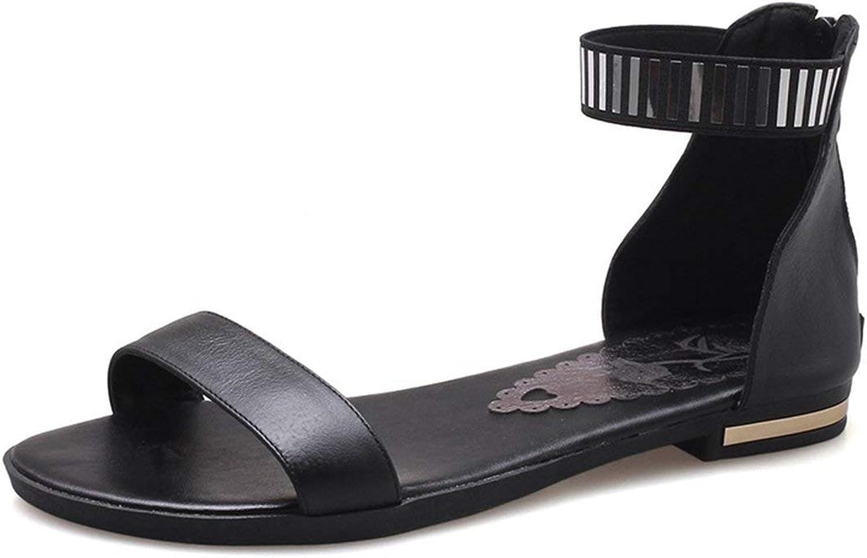 Coolemon Big Size 34-46 New Genuine Leather Sandals Women Zipper Summer Black gold White Casual Beach Flat Sandals