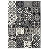 Debonsol - Tapis Salon Patchwork Carreaux Ciment Gris 160x225cm