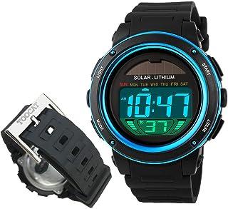 Solar Energy Watch for Kids, TOOCAT Digital Sport Watch Outdoor 50M Waterproof Stopwatch Military Electrical Wrist Watch for Boy Girl Children