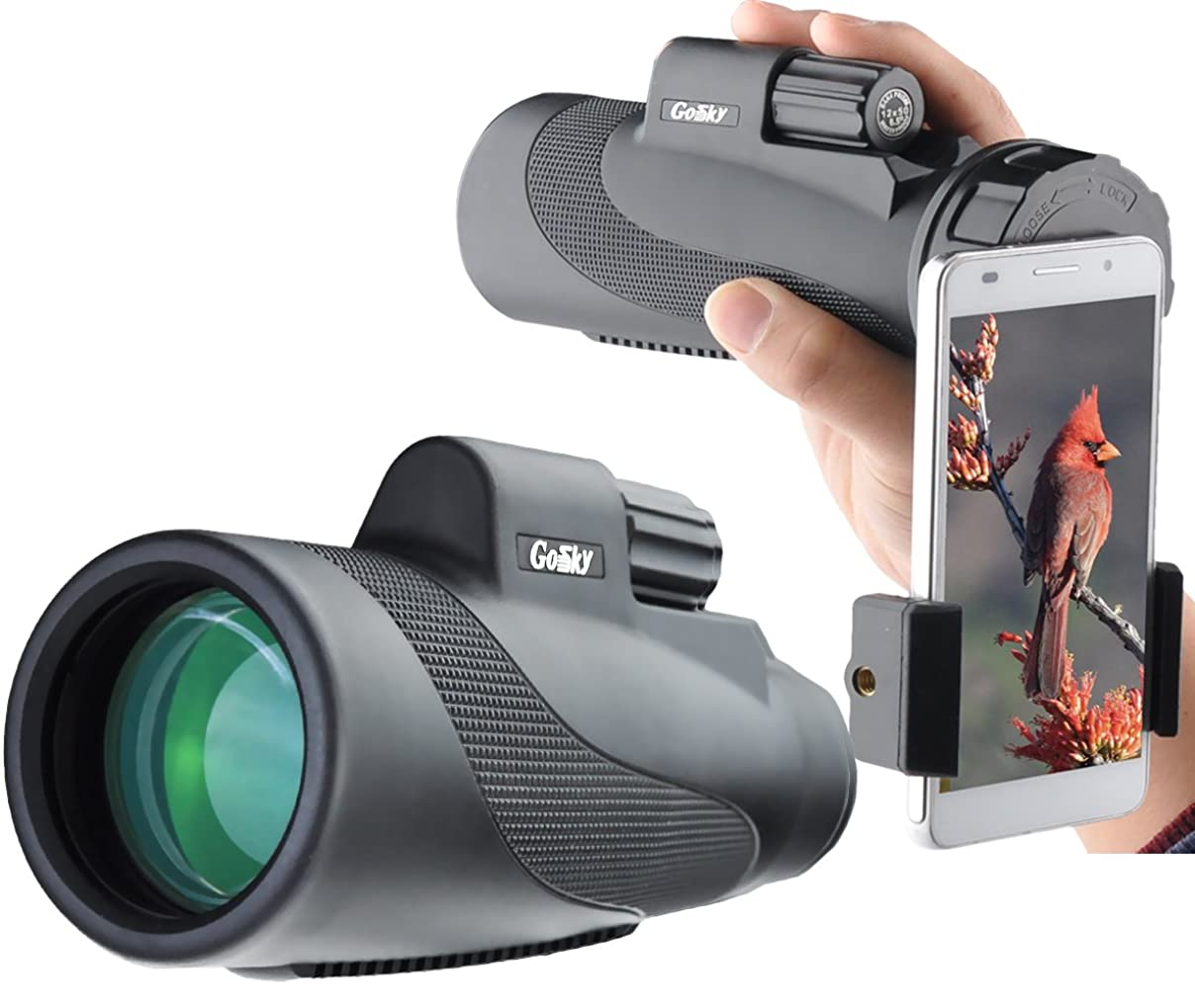 プレフィックスペイン説明Gosky  タイタン  12X50  ハイパワープリズム単眼鏡  &  クイックスマートフォンアダプター  -  防水  くもり止め  耐衝撃スコープ  -  BAK4プリズム  FMC  用途:バードウォッチング  ハンティング  キャンピング  旅行  野生動物の観察  風景