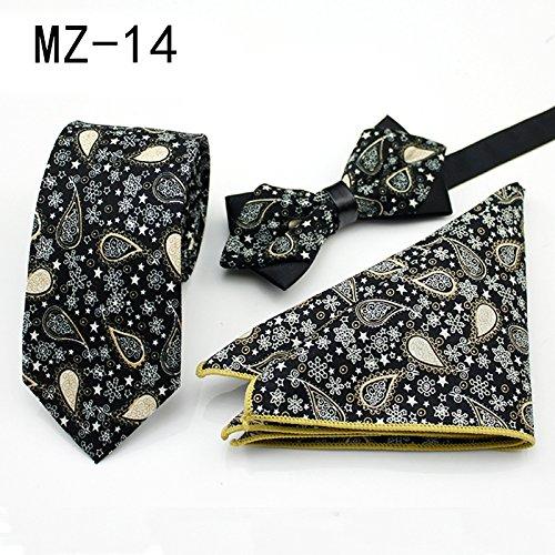 WUNDEPYTIE Dreieckiger Anzug aus Baumwoll-Businesskleid mit englischem Muster, quadratischer Schal, Fliege, Gelb Q}