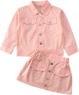 BOIZONTY Kids Toddler Girls Winter Outfits Long Sleeve Button Down Jacket Coat Tops+Tutu Skirts Party Princess Fall Clothes Set (Button Pink, 3-4 Years)