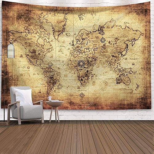KHKJ World Map 3D Geometric Wall Hanging Tapestry Decor Oil Painting Beach Towel Sleeping Pad Yoga Blanket Mat A4 95x73cm