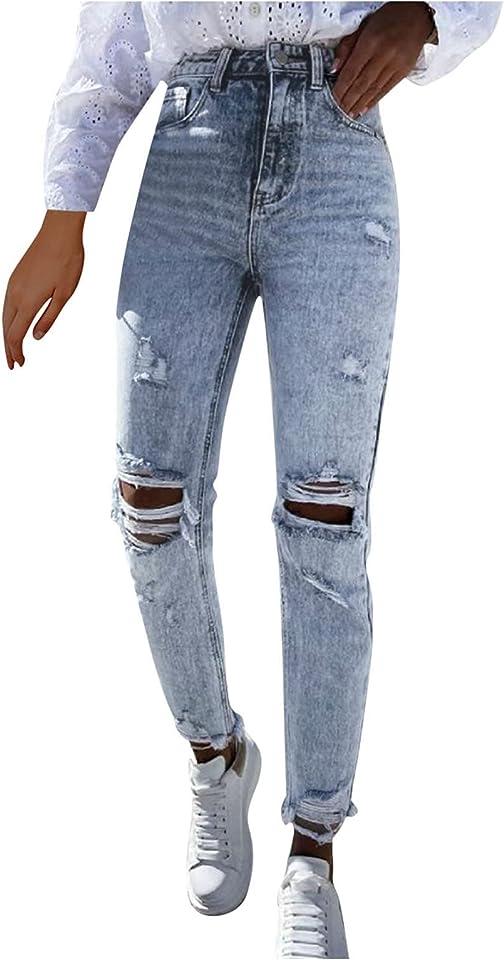 Damen Skinny High Waist Jeans Stretch Jeanshose Löcher Elegant Röhrenjeans Frauen Risse Ripped Lang Eng Denim Hose Destroyed Jeggings