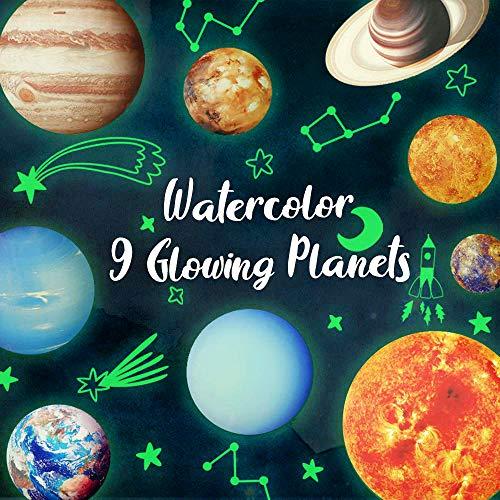 9 Planetas Pegatina,Estrellas y Planetas Pegatina de Pared para Dormitorio de Ni/ños,Pegatinas de 9 Planetas del Sistema Solar Pegatinas de Pared Decorativos