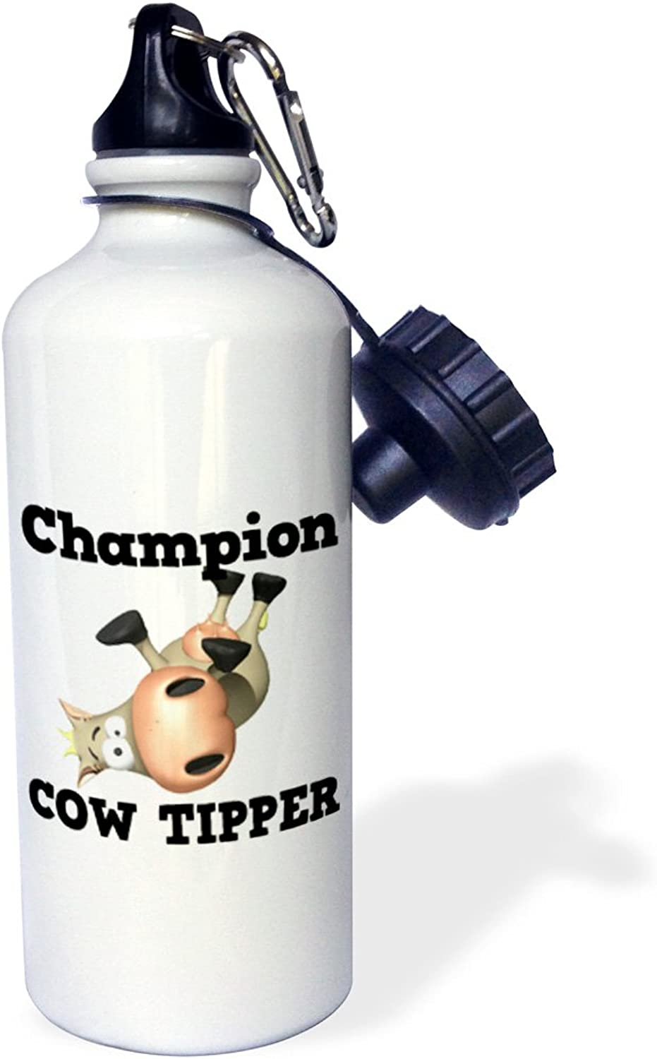 3dpink wb_102580_1 Funny Champion Cow Tipper Cowin Tipping Humor  Sports Water Bottle, 21 oz, White