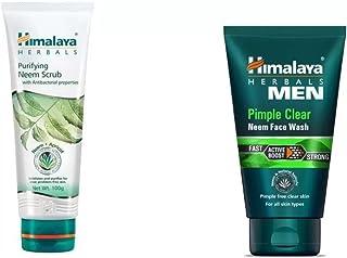 Himalaya Combo of Purifying Neem Scrub, Men Pimple Clear Neem Face Wash