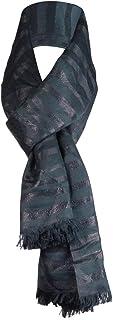 Calvin Klein女性用ストライプメタリックフリンジスカーフ