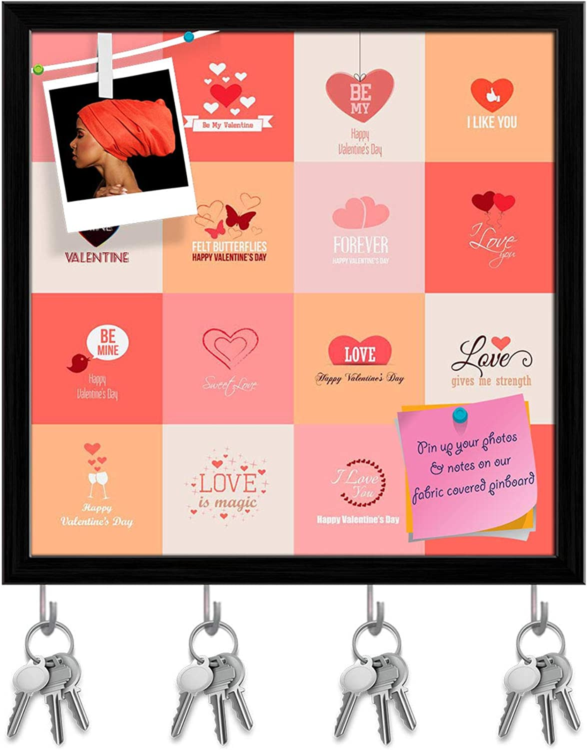 Artzfolio Happy Valentines Day Key Holder Hooks   Notice Pin Board   Black Frame 20 X 20Inch