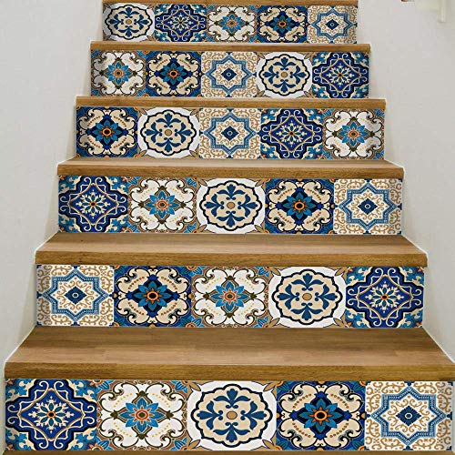 3D Marroquí Azulejos Escaleras Pegatinas Sala de estar Paisaje Fondo Pared Decoración del hogar Impermeable Pegatinas de pared de ladrillo 18x100cmx6pcs @ FS066