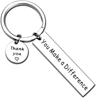 You Make A Difference Keychain Thank You Gift for Volunteer Mentor Employee Teacher Gift