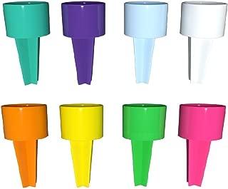 Set of 8 Spikers Beach Beverage Sand Cup Holders - Teal, Purple, Carolina Blue, White, Yellow, Tangerine, Kiwi & Strawberry