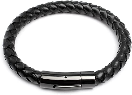 Männer Länge 20-20,5 cm Echtes Leder Armband mit Haken in Schwarz für Herren