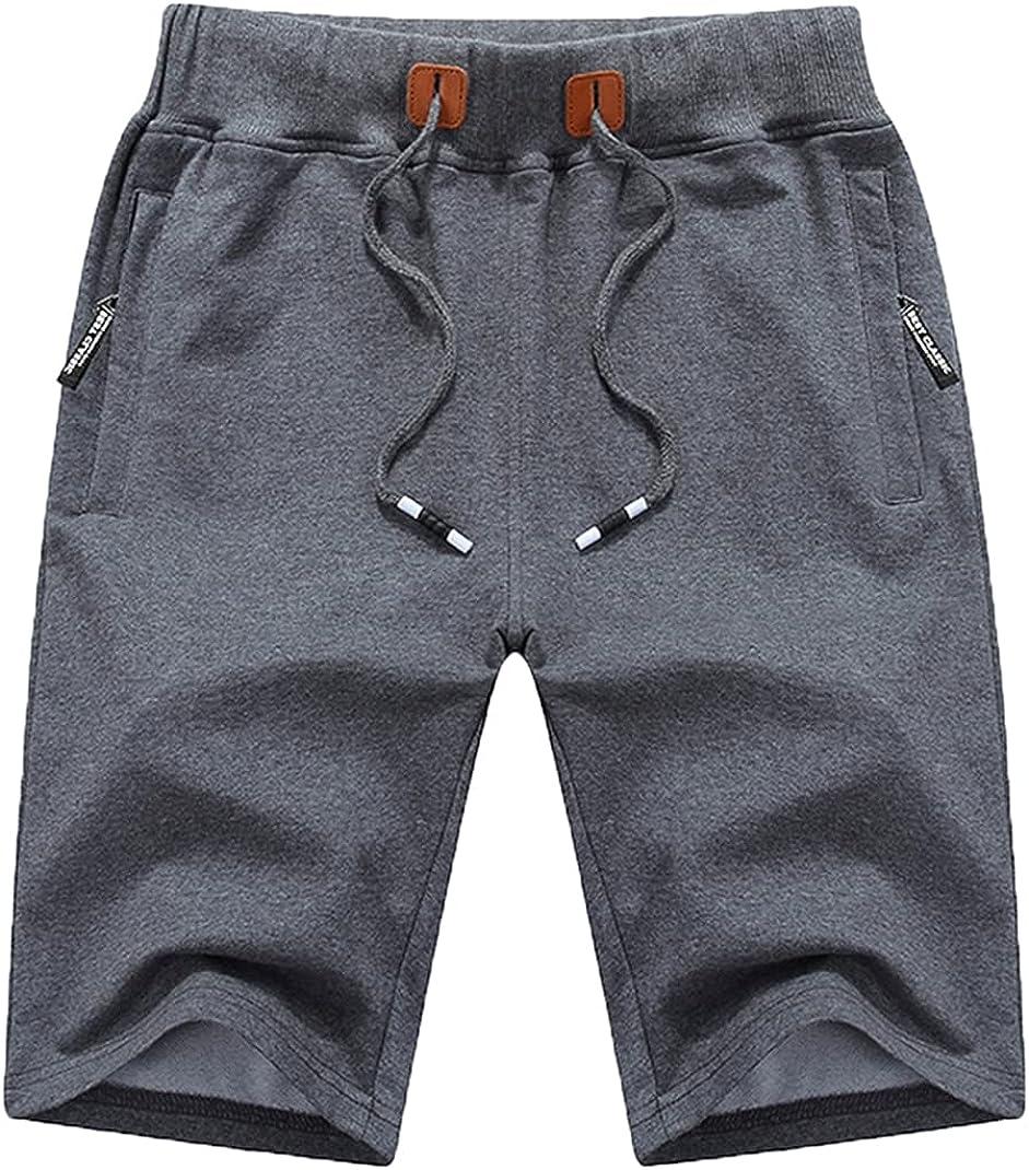 QPNGRP Mens Shorts Casual Drawstring Zipper Pockets Elastic Waist