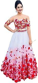 1faad092d1 Fast Fashions Women's Heavy Net Embroidered Semi-Stitched Lehenga Choli  (FF-5060,