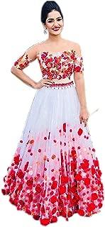 Fast Fashions Women's Heavy Net Embroidered Semi Stitched Lehenga Choli (White Colour)