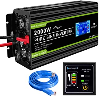 novopal® Spannungswandler12V auf 230V 2000W/4000W Reiner Sinus Wechselrichter  Inverter Konverter mit 2 EU Steckdose und 2.4A USB Port   inkl. 5 Meter Fernsteuerung mit LCD Bildschirm