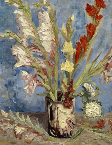 Vase with Chinese asters and gladioli, Vincent van Gogh. Ruled journal: 150 lined / ruled pages, 8,5x11 inch (21.59 x 27.94 cm) Laminated