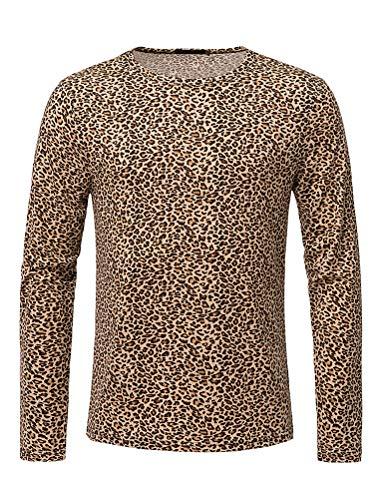 THWEI Men Short Sleeve Round Neck Snake Skin Print T Shirt-S(Fit 34-36)