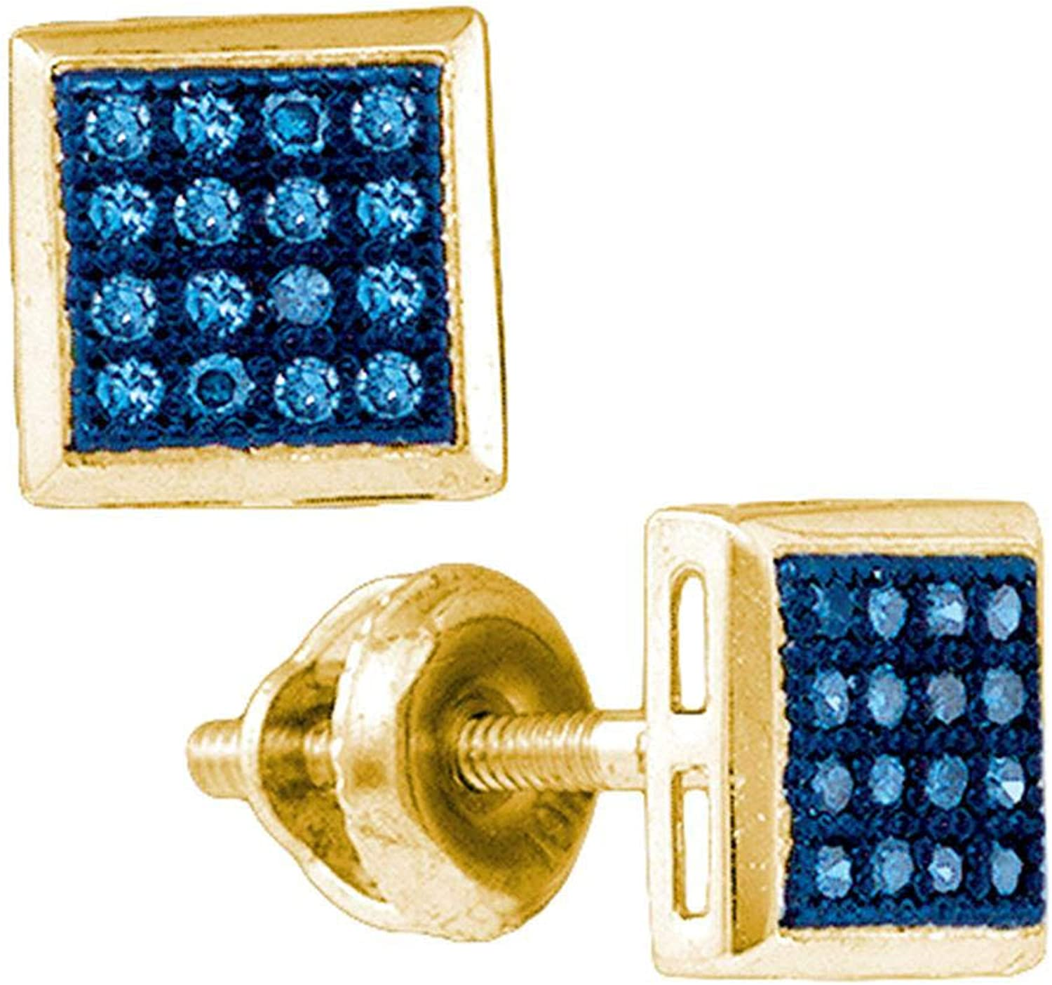 10k Yellow gold Womens bluee colord Diamond Square Cluster Screwback Stud Earrings 1 10 Cttw