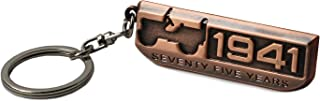 LROEZR 75 Anniversary 3D Font Grill Keychain Chain Key Ring for Jeep Driver Enthusiast Automotive Laser Cut Metal Emblem Keyring Red Bronze(1941-2016)