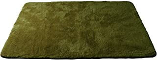 防ダニ加工 洗える マイクロファイバー シャギーラグ 140×200 モスグリーン 57074194