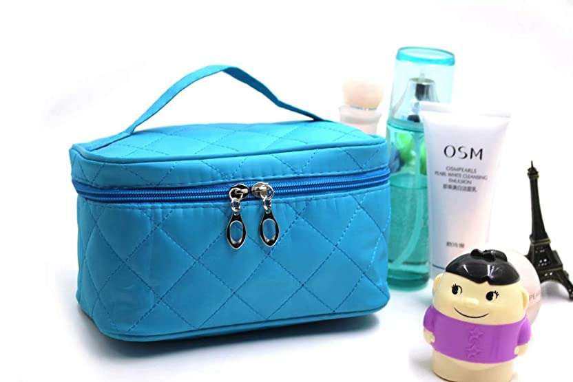 Liroyal 化粧ポーチ コスメポーチ メイクポーチ 大容量 バニティポーチ 機能的 ブルー