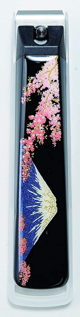 警察署知覚するアンティーク蒔絵爪切り 富士に桜 紀州漆器 貝印製高級爪切り使用