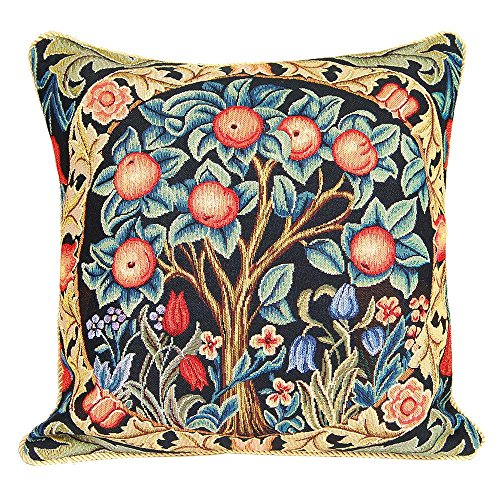Signare Tapestry Cushion Cover 18 x18 inches 45cm x 45cm Decorative Sofa Cushions with Tree of Life and Orange Tree by William Morris (Orange Tree, CCOV-ART-MORRIS-1)