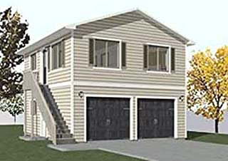 Garage Plans: Two Car, Two Story Garage With Apartment, Outside Stairs - Plan 1152-1
