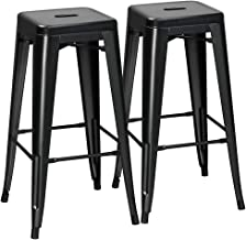 Yaheetech 2 Pack Metal Bar Stools Vintage Counter Bar Stool Stackable Chairs Heavy Duty for Bistro/Patio/Café/Restaurant/Dining Room/Kitchen Black, 30