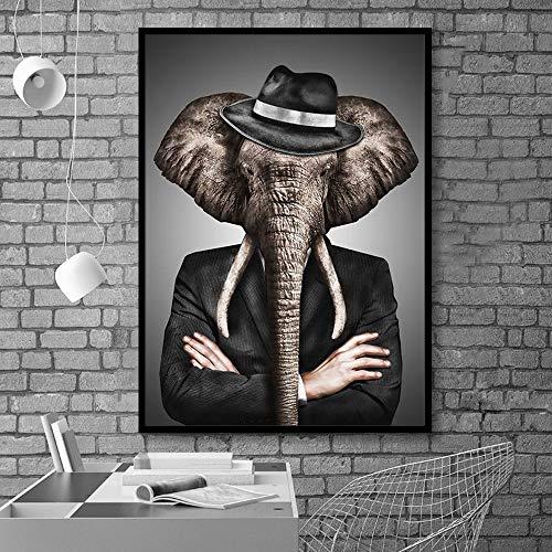 tzxdbh Kein Rahmen Schwarzweiß Noble Löwe Tiger Elefant Giraffe Wolf Pferd Wandkunst Poster und Drucke Tier trägt einen Hut Leinwand Gemälde 70 * 100 cm