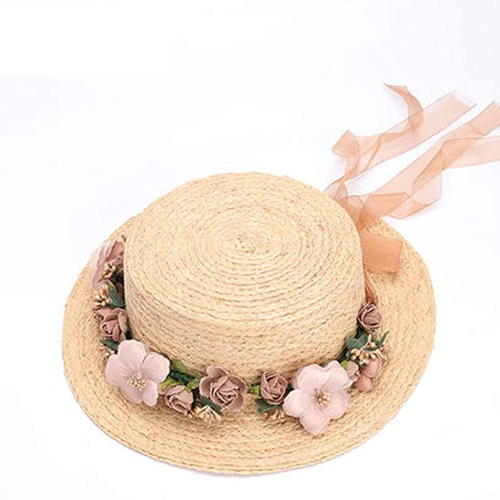 ZFDM 麦わら休日の旅行日曜日の帽子フリップ日曜日の帽子の帽子の調節可能な折る紫外線保護