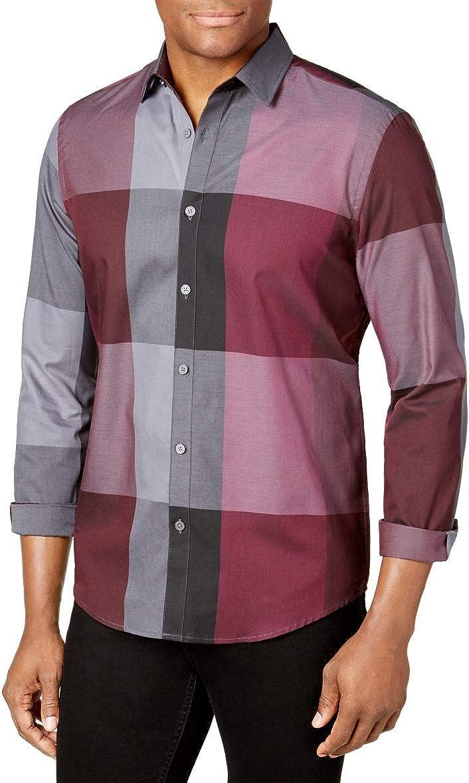 ALFANI Mens Burgundy Windowpane Plaid Collared Dress Shirt Classic Size: S