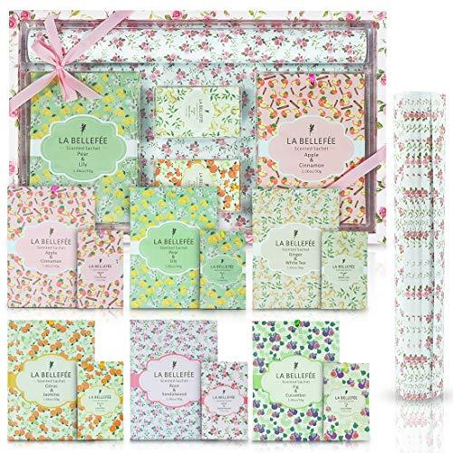 LA BELLEFÉE 17 Bolsitas Perfumadas Sobres Aromáticos para Cajones Armarios Habitación Baños Coches (Paquete de 12 Bolsitas Perfumadas + Paquete de 5 Papeles Perfumados)