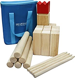 Premium Rubberwood Kubb Yard Game, Viking Chess Outdoor Game, Giant Lawn Games Set, Wooden Family Outdoor Game for Beach BackyardParty with Carrying Bag