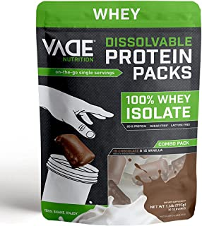 Vade Nutrition Dissolvable Protein Packs | Chocolate & Vanilla Whey Isolate Protein Powder, On-The-Go, Low Carb, Low Calor...