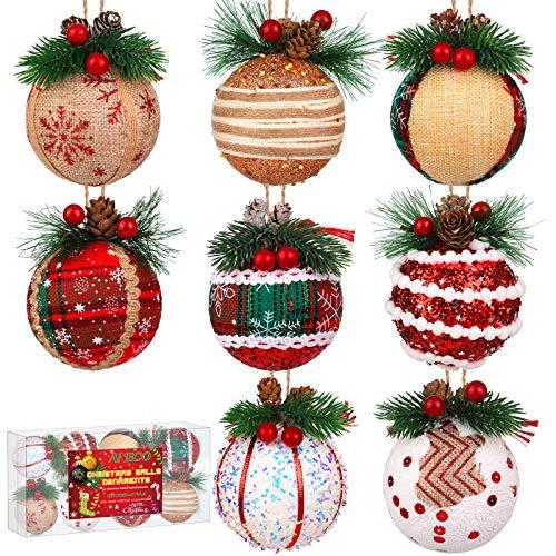 Aneco 8 Pieces Christmas Tree Ornaments Shatterproof Christmas Ball Ornaments Xmas Ball with Pinecones for Christmas Decor