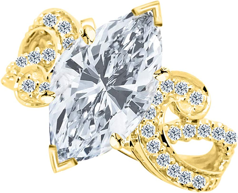 2 Ctw 14K Excellence White Gold Thick GIA Cut Certified All stores are sold Curving Di Marquise