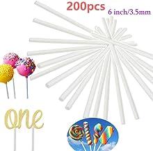 200PCS 6 Inch White Paper Lollipop Sticks,Sucker Stick for Chocolate,Cake Topper,Rainbow Candy,Cake Pops,3.5mm