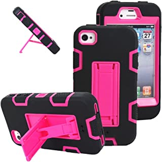 iPhone 4s case, iPhone 4 case, MagicSky Robot Series Hybrid Armored Case with Kickstand for Apple iPhone 4/4S - 1 Pack - Retail Packaging - Hot Pink/Black