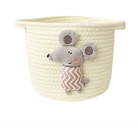 Newsea Round Woven Baby Diaper Basket with Handle Cotton Diaper Caddy Organizer Foldable Rope Bin Storage for Nursery Toys Towels,Blanket,Clothes,Gifts for Home Shelves Shower Bedroom,White