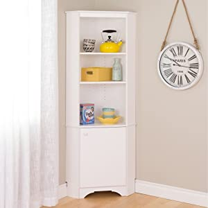 Prepac Elite Winslow White Tall 1-Door Corner Storage Cabinet Closet Shelf Wall