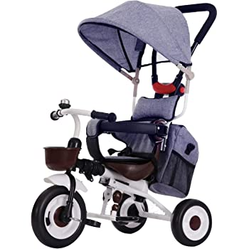 三輪車 折りたたみ 4 in Tricycle子供用 乗用玩具 乗り物 子供乗せ1-6歳 持ち運び便利 バッグ付 かじとり サンシェード シートベルト 安全ガード 後輪ロック 足置き 押し手ハンドルkiki (青色)