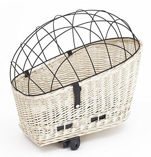 Tigana - Hundefahrradkorb für Gepäckträger aus Weide Natur 56 x 36 cm mit Metallgitter Tierkorb Hinterradkorb Hundekorb für Fahrrad (W-S) (XL mit Kissen)