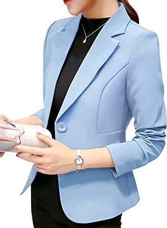 Uni-Wert Blazer Mujer Chaqueta de Traje Slim Fit Elegante Casual Oficina Negocios Outwear Solapa Manga Larga Chaqueta de Traje para Mujer