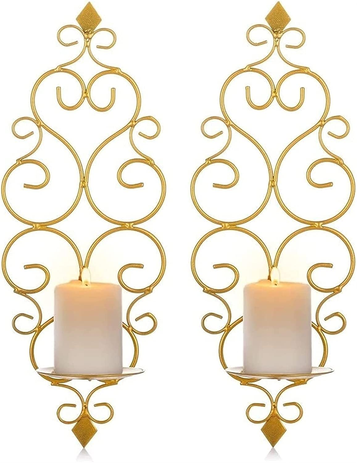 Wholesale low-pricing HMMN Mounted Pillar Candle Sconces Holder Iron Sconc Wall
