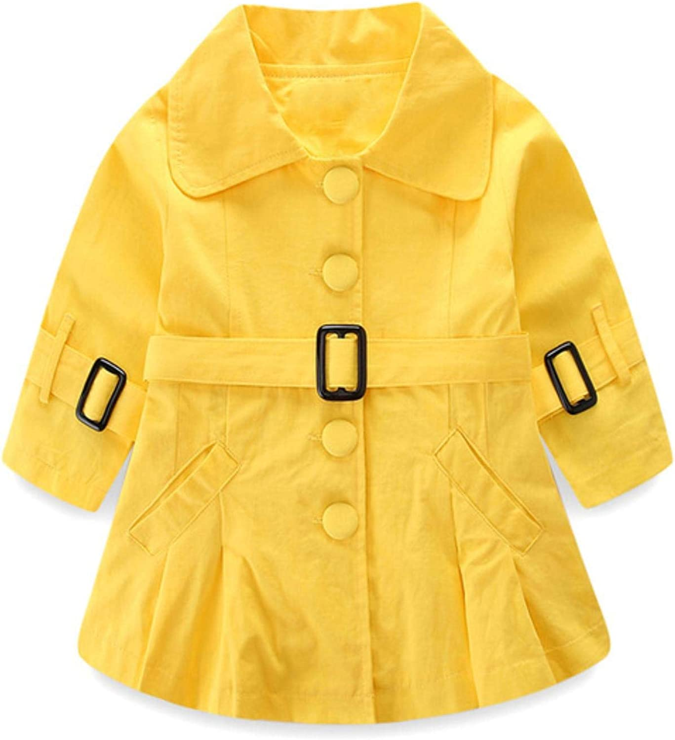 Girls Trench Coats Solid Long Sleeve Windbreaker Outerwear FashionButton Girl Autumn Clothes