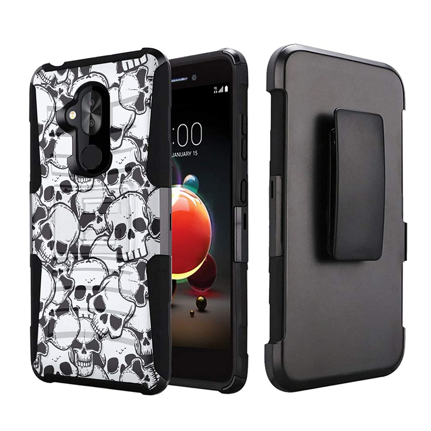 Capsule Case Compatible with T-Mobile Revvl 2 Plus, Alcatel 7 Folio, Alcatel 7 (2018) Metro PCS [Kickstand Holster Combo Heavy Duty Protection Case Black] - (Skull)